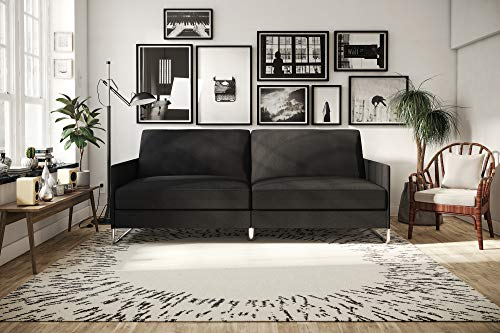 DHP Pembroke Convertible Futon Sofa Bed, Grey Linen