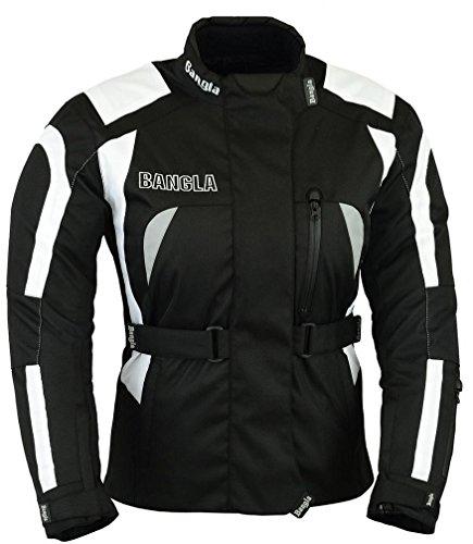 Bangla Damen Motorrad Jacke Motorradjacke Cordura Textil Schwarz Weiss Gr. 42 XL