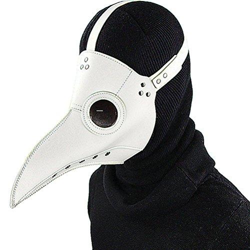 DM201605 Pestdoktor-Maske Vogel Lange Nase Schnabel Kunstleder Steampunk Halloween-Kostüm Schwarz, PU, Weiß Stil 1, Standard