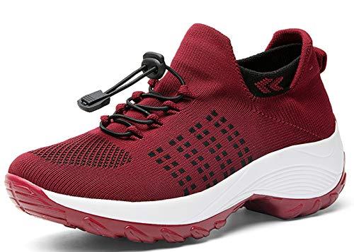 Basket Femme Cordon Respirantes Chaussures de Sport Outdoor Athlétique Antidérapant Élastique Léger Confortable Chaussures de Course Rouge 41 EU