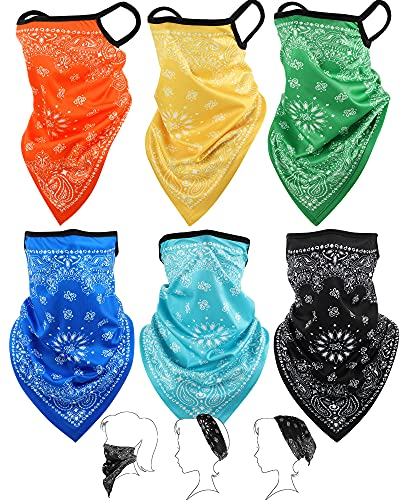 Bandana Face Cover Ear Loops Balaclava Neck Gaiter Scarf Outdoor Headwears for Men Women (Yellow, Green, Rose Red, Orange, Cyan, Blue, 6)