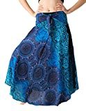 B BANGKOK PANTS Women's Boho Maxi Skirt Bohemian Print (Bohorose Blue, One Size)