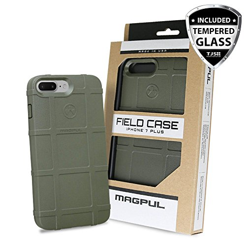 Case for iPhone 7 Plus / iPhone 8 Plus, with TJS [Tempered Glass Screen Protector] Magpul [Field] MAG849-ODG Polymer Cover Retail Packaging (Olive Drab Green)