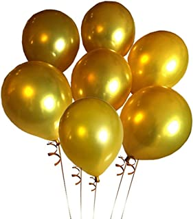 Elecrainbow 100 Pack 12 Inch 3.2 g/pc Thicken Round Metallic Pearlescent Latex Gold Balloons for Party Supplies and Decorations, Shining Gold