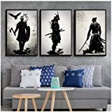MULMF Poster und drucke Samurai rüstung Japan Anime wandkunst gemälde Mode leinwand wandbilder für Wohnzimmer dekor- 50x70cmx3 kein Rahmen