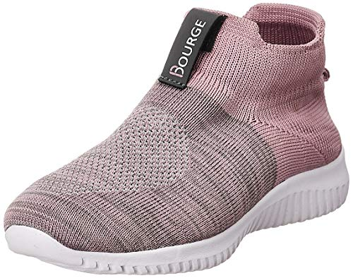 Bourge Women Micam-Z52 Lt. Pink and Grey Walking Shoes-7 (Micam-109-07)