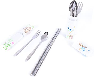 Funnytoday365 1 Set Chinese Style Portable Travel Cutlery Set Stainless Steel Tableware Set Dinnerware For Camping