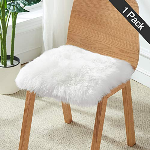 "XingMart 18"" x 18"" Fluffy Faux Sheepskin Fur Square Chair Cushion Cover Seat Pad Soft Rugs for Bedroom Living Girls Room Sofa Decor, White"