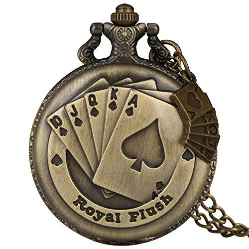 Reloj de Bolsillo clásico de Cuarzo de Bronce para Hombres, Delicado Juego...