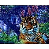 Lazodaer Kits de pintura de diamante para adultos 5D DIY completo redondo taladro de cristal Rhinestone bordado artes arte decoración de pared Tigres en el bosque 15.6 x 11.8 pulgadas