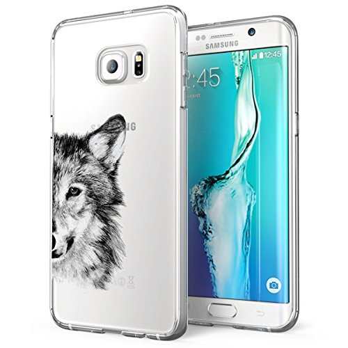 Cover Galaxy S6 Edge Trasparente Galaxy S6 Edge Custodia Silicone Panda Lupo Cactus Disegno Animale Ultra Slim Custodia Antiurto No-Slip Anti-Graffio Morbido per Samsung Galaxy S6 Edge (Lupo)