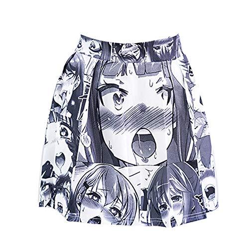 Sexy Ahegao Rock Hentais Anime Cosplay Dessous Kostüm Kawaii Japanisches Schulmädchen Minirock Halloween Lolita (Grau1)