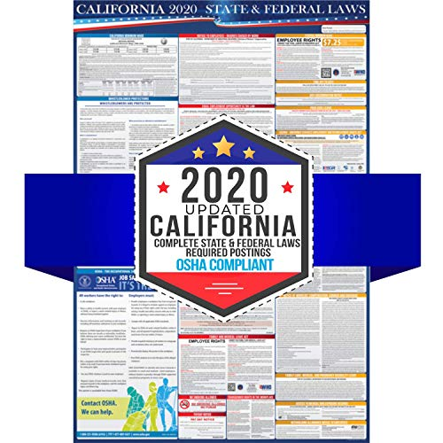 """2020 California State and Federal Labor Laws Poster - OSHA Workplace Compliant 24"""" x 36"""" - All in One Required Posting - Laminated (English)"""