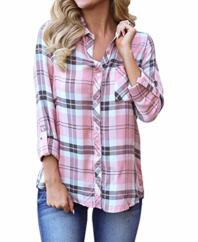 Grace Elbe Women's Collared Cuffed Sleeve Plaid Flannel Shirt Pink Large