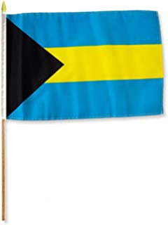 ALBATROS 12 inch x 18 inch (Pack of 12) Bahamas Stick Flag with Wood Staff for Home and Parades, Official Party, All Weather Indoors Outdoors