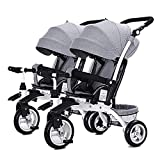 L@LILI Children's Double Tricycle Portable Two-Seater Sliding Artifact Twin Stroller,A