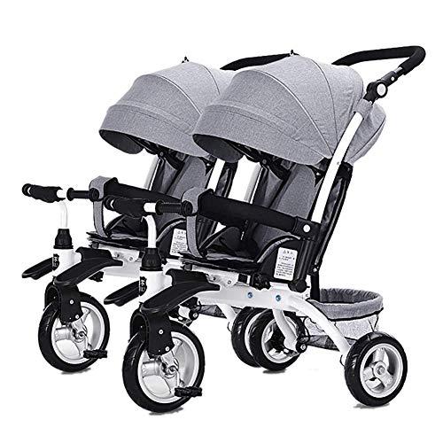 L@LILI Kinder-Doppel-Dreirad tragbarer Zweisitzer Sliding Artifact Twin Kinderwagen,A