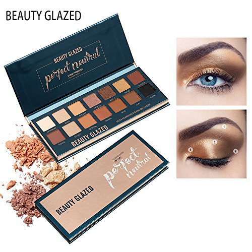 Beauty Glazed 14 Colors Perfect Neutral Shimmer and Matte Super Golden Nude Pigmented Eyeshadow Palette