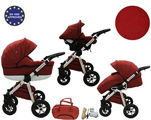 QUERO Lin Matériau - Landau pour bébé + Siège Auto - Poussette - Système 3en1 + Accessoires (Système 3en1, Lin Matériau N ° 8)