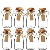 Awtlife - Juego de 15 tarros de leche, de cristal, vintage, con tapones de corcho para boda o fiesta