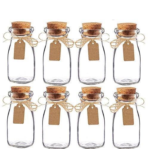 Awtlife, barattoli da latte vintage, in vetro con tappo di sughero, bomboniere per matrimoni, 15 pezzi