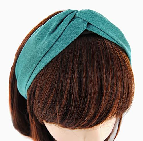 axy Breiter Design Haarreif aus zweilagig Chambray Stoff, Haarband Vintage Hairband Stirnband Haarreifen HRD1 (Seegrün)