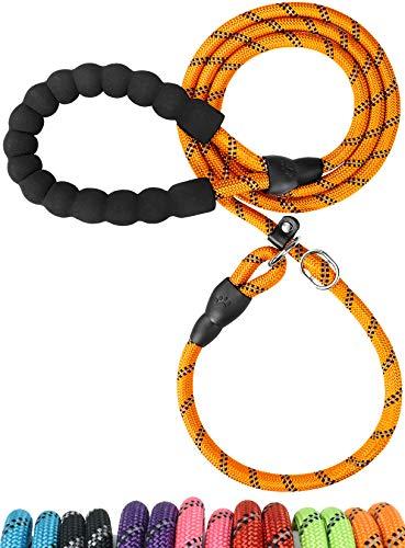TagME Retrieverleine mit Zugstopp,Reflektierende Seilleine 185 cm Moxonleine,Weicher gepolsterter Griff,8mm für Kleine Hunde,Orange