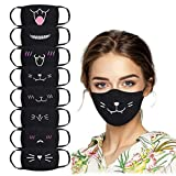 8pcs Cute Print Black Cotton Thick Breathable Coldproof Dust Mask Set, smile face mask, kawaii mask for women