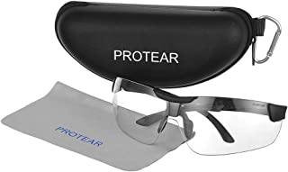 PROTERA Anti-Scratch Safety Glasses, Anti-Fog Shooting Glasses Eye Protection with Clear Mirror Lens and Case, UV-Resistant, Sport Protective Eyewear with Adjustable Temples