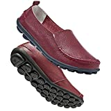 HARENCE Shoes for Women Casual Slip On Driving Loafers Comfortable Leather Outdoor Walking Flat Shoes Wine Red