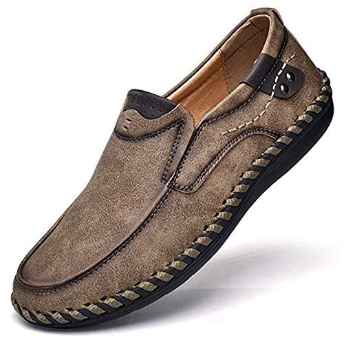 Men's Penny Loafers Premium Leather Casual Shoes Breathable Driving Shoes Flats Boat Shoes Slip on Khaki