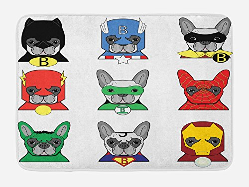"Ambesonne Superhero Bath Mat, Bulldog Superheroes Fun Cartoon Puppies in Disguise Costume Dogs with Print, Plush Bathroom Decor Mat with Non Slip Backing, 29.5"" X 17.5"", White Green"