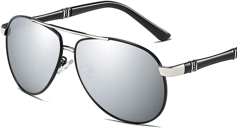 Men's Vintage Classic Polarized Sunglasses. (color   Black Silver)