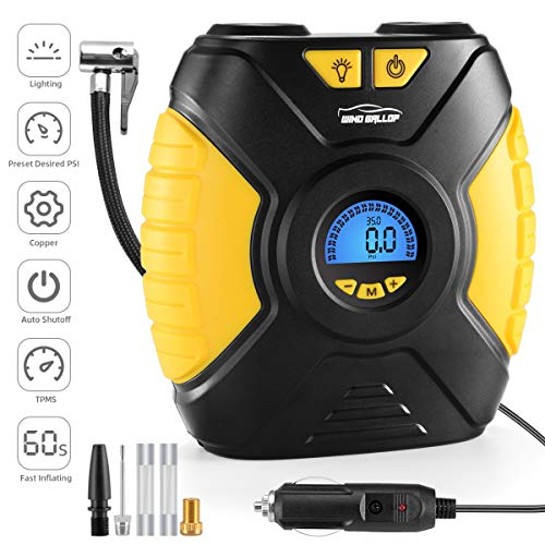 WindGallop Compresor De Aire Portatil Coche Inflador Electrico De Neumáticos para Automóviles Bomba para Automóvil Bomba De Aire Eléctrica De 12V con Adaptadores De Válvula De Manómetro Luz LED
