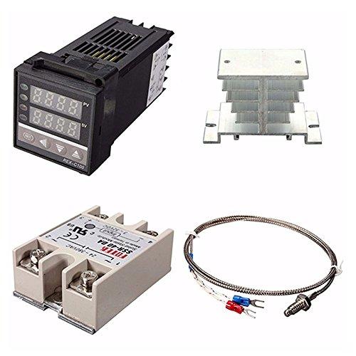 Gaetooely Controlador Digital de Temperatura PID REX-C100 de 220 V + 40 a MáX. SSR + K Termopar, Conjunto de Controlador PID + Disipador de Calor