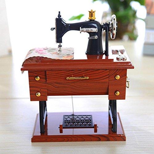 Xshuai Boîte à musique vintage - Imitation machine à coudre - Mini machine à coudre - Style rétro - Décoration de table - Jouet pour enfants - Cadeau d'anniversaire - Petite taille : 12 x 7,7 x 16 cm