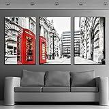 45Tdfc 3 Paneles Wall Art Pictures Escena de Londres con cabinas telefónicas Rojas. Wood Canvas Print Modern Posters con Marco para La Decoración De La Sala De Estar,40×80cm-3