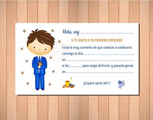 Invitaciones de Primera Comunión Niño - Muy Bonitas - Para que Sus Amiguitos ¡Alucinen! (12 unidades)