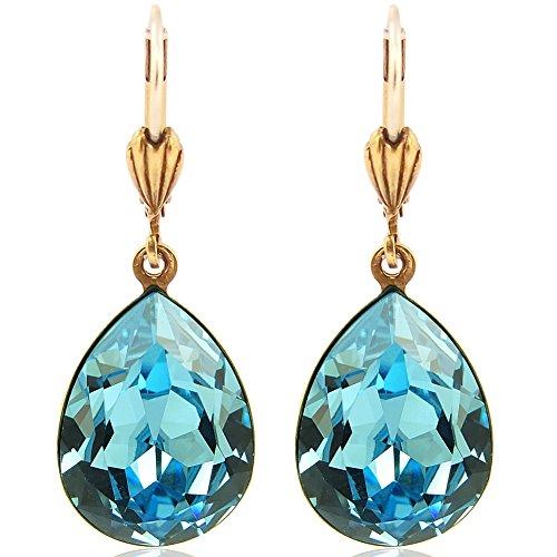Ohrringe Gold Blau mit Kristallen von Swarovski® Tropfen NOBEL-SCHMUCK