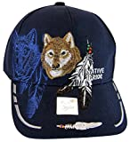 Native Pride Wolf & Feather Cap with Shadow Men's Adjustable Baseball Cap (Navy)