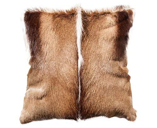 Fimbi Kissenbezug aus Naturleder mit Springbokfell, handgefertigt in Namibia - 40cm x 40cm