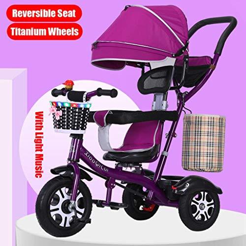 JXXU 4-in-1-Push-and-Ride-Spaziergänger Tricycle mit Ajustable Großer Canopy 360 ° Wendesitz 5 -Point Harness Kinderwägen for 1-6 Jährige Kinderwagen Trike (Color : B)