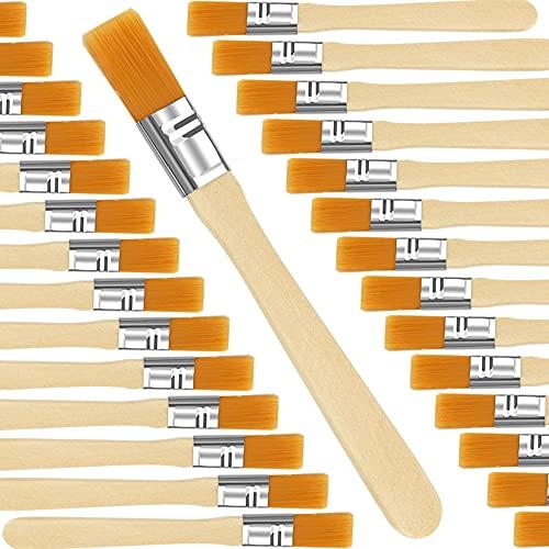 WANTOUTH 30 Stück Malerpinsel Nylonborsten Flachpinsel Lackpinsel Farbe Streichen Pinselset 12,8cm lang Fensterpinsel Lasurpinsel Holz Griff Wandpinsel für Kunst Malerarbeiten Malerei Wandfarbe Lacke