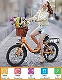 Hold E-Bikes Ebike, 300W 8.8Ah Elektrofahrrad Niedliches Elektrofahrrad mit LED-Frontleuchte für Erwachsene-Orange