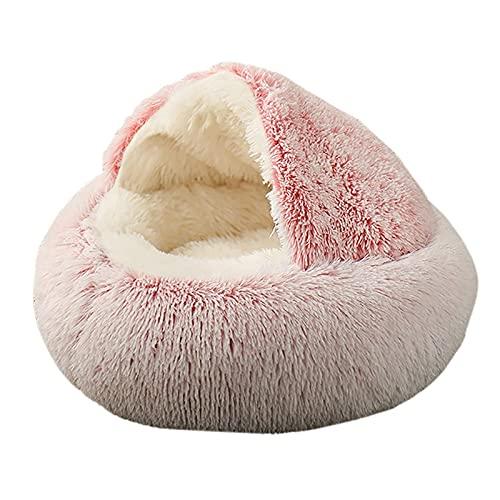 Ymgm Neue Haustierhundkatze Runde Plüschbett Halbgeschlossenes Katze Nest Für Tiefschlaf Komfort im Winter Katzen Bett Kleine Matte Korb Weiche Kennel (Size : M)