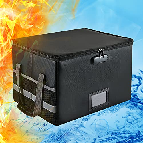 Fireproof Document Box (2000℉) Fireproof Box with Lock Portable File Organizer for Hanging Letter/Legal File Folder Fireproof Storage Box Filing Box with Handle,Office Home File Folder Box