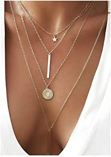 Dainty Coin Cross Pendant Layered Necklace Choker Whit...