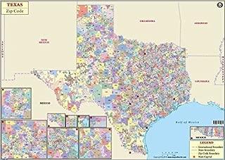 Texas Zip Code Map - Laminated (36