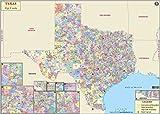 Texas Zip Code Map - Laminated (36' W x 25' H)
