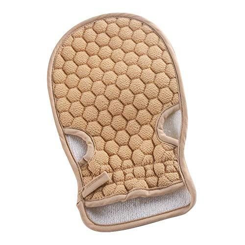 JUNGEN Gants Douche Gant de Nettoyage Gants exfoliants Gants de Bain pour Le Spa Douche et Massage pour la Peau et Le Corps 22 * 14cm (Beige Jaune)